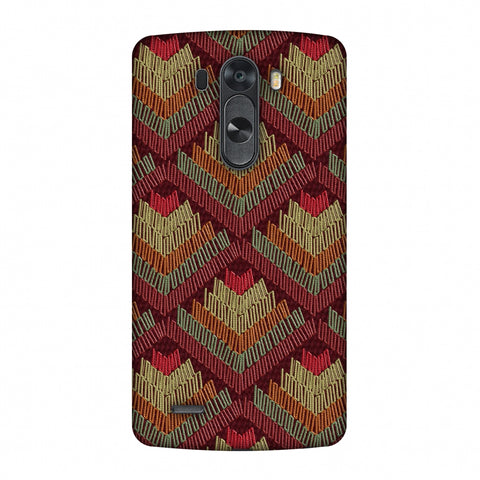 Phulkari Pattern Ascends - Rust Maroon Slim Hard Shell Case For LG G4
