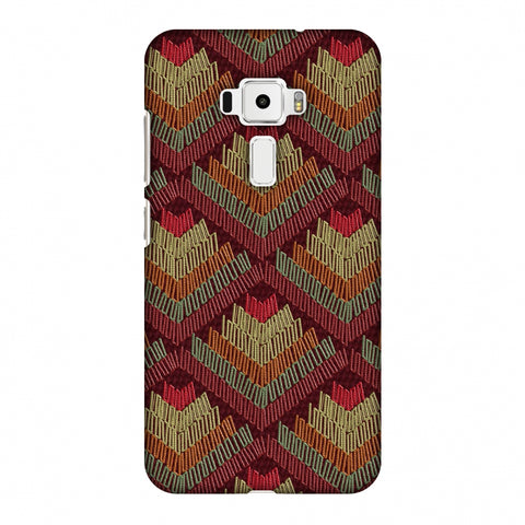 Phulkari Pattern Ascends - Rust Maroon Slim Hard Shell Case For Asus Zenfone 3 ZE520KL