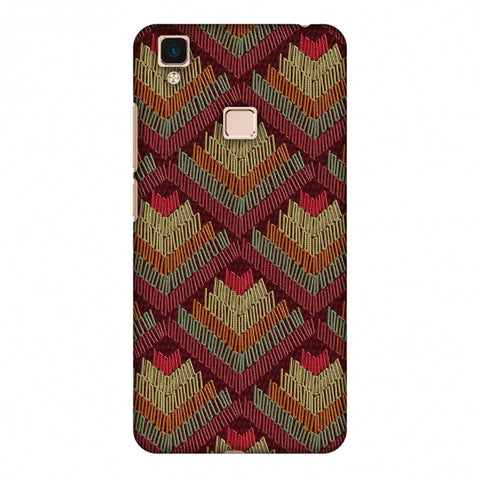 Phulkari Pattern Ascends - Rust Maroon Slim Hard Shell Case For Vivo V3 Max