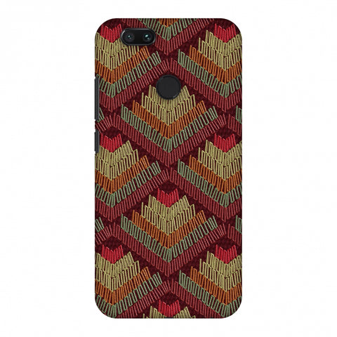 Phulkari Pattern Ascends - Rust Maroon Slim Hard Shell Case For Xiaomi MI A1-5X