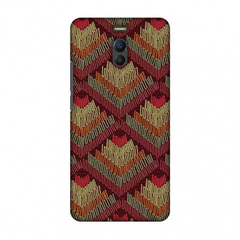 Phulkari Pattern Ascends - Rust Maroon Slim Hard Shell Case For Meizu Note 6