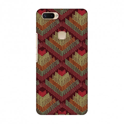 Phulkari Pattern Ascends - Rust Maroon Slim Hard Shell Case For Vivo X20 Plus
