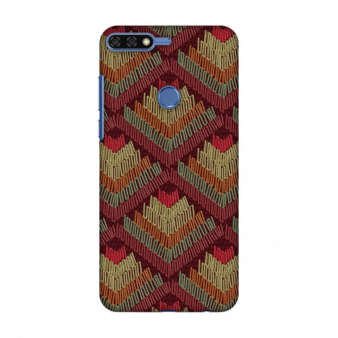 Phulkari Pattern Ascends - Rust Maroon Slim Hard Shell Case For Huawei Honor 7C