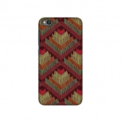 Phulkari Pattern Ascends - Rust Maroon Slim Hard Shell Case For Redmi Go