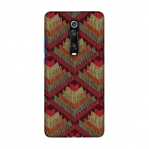 Phulkari Pattern Ascends - Rust Maroon Slim Hard Shell Case For Redmi K20/K20 Pro