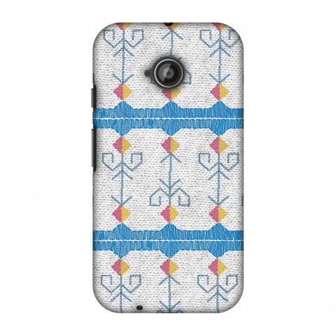 Geometric Phulkari Stripes- Blue And White Slim Hard Shell Case For Motorola Moto E 2nd Gen