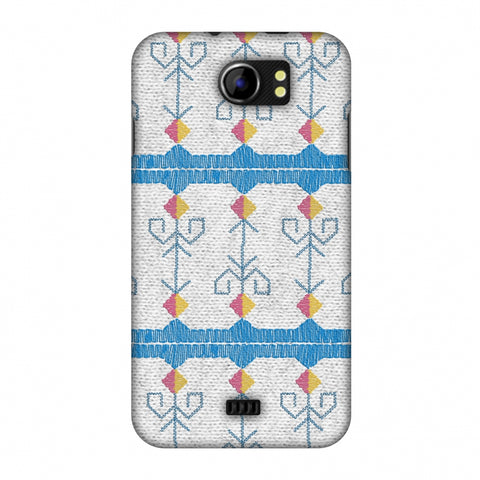 Geometric Phulkari Stripes- Blue And White Slim Hard Shell Case For Micromax Canvas 2 A110