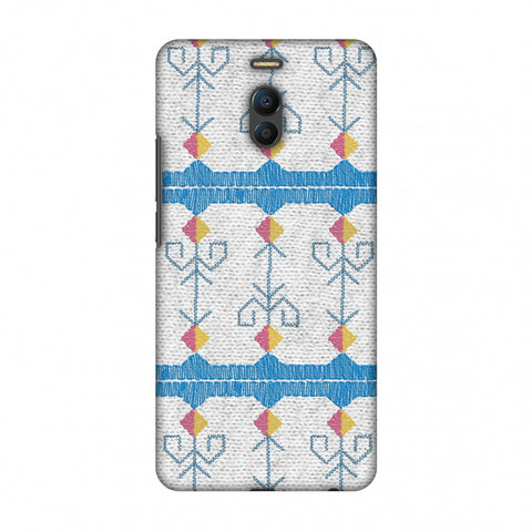 Geometric Phulkari Stripes- Blue And White Slim Hard Shell Case For Meizu Note 6