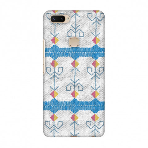 Geometric Phulkari Stripes- Blue And White Slim Hard Shell Case For Vivo X20 Plus