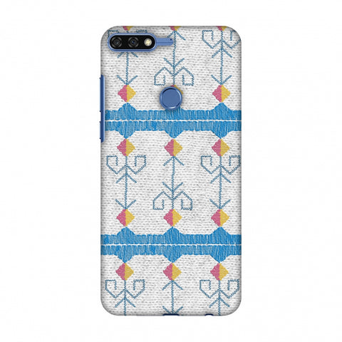 Geometric Phulkari Stripes- Blue And White Slim Hard Shell Case For Huawei Honor 7C
