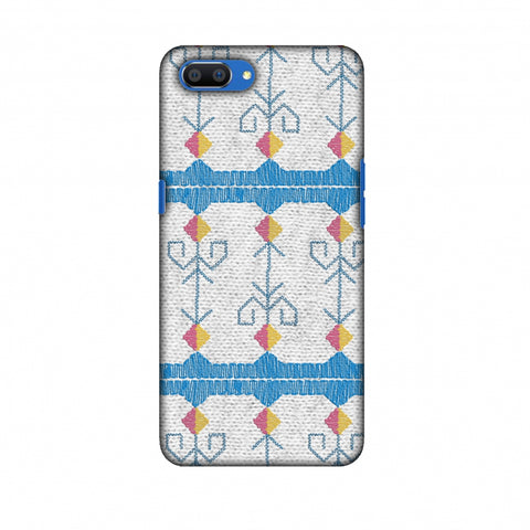 Geometric Phulkari Stripes- Blue And White Slim Hard Shell Case For Oppo Realme C1