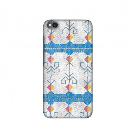 Geometric Phulkari Stripes- Blue And White Slim Hard Shell Case For Redmi Go