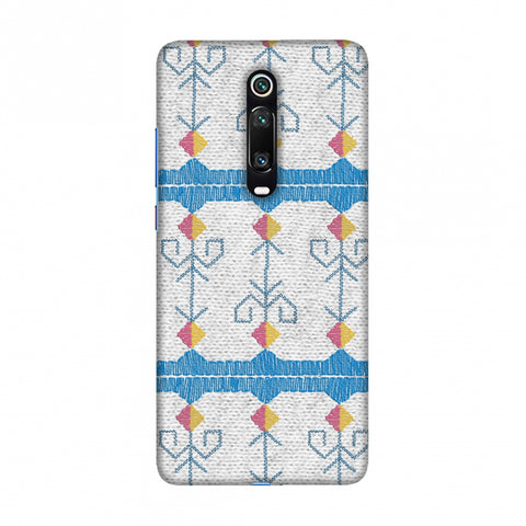 Geometric Phulkari Stripes- Blue And White Slim Hard Shell Case For Redmi K20/K20 Pro