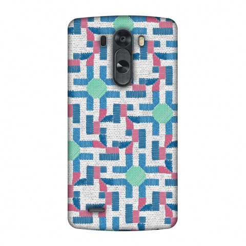 Geometric Phulkari - Blue And Green Slim Hard Shell Case For LG G4