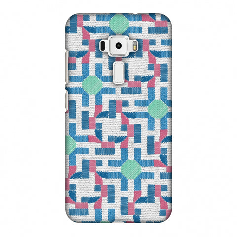 Geometric Phulkari - Blue And Green Slim Hard Shell Case For Asus Zenfone 3 ZE520KL