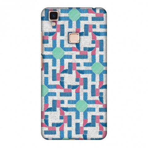Geometric Phulkari - Blue And Green Slim Hard Shell Case For Vivo V3 Max