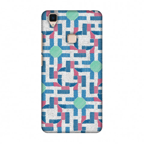 Geometric Phulkari - Blue And Green Slim Hard Shell Case For Vivo V3