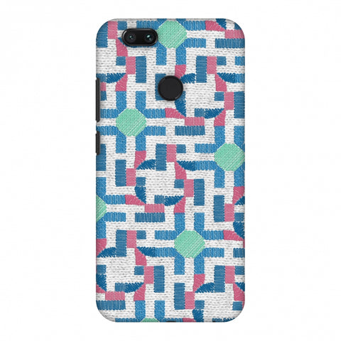 Geometric Phulkari - Blue And Green Slim Hard Shell Case For Xiaomi MI A1-5X