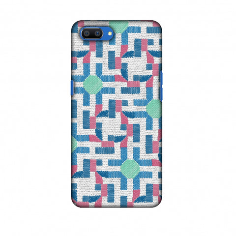 Geometric Phulkari - Blue And Green Slim Hard Shell Case For Oppo Realme C1