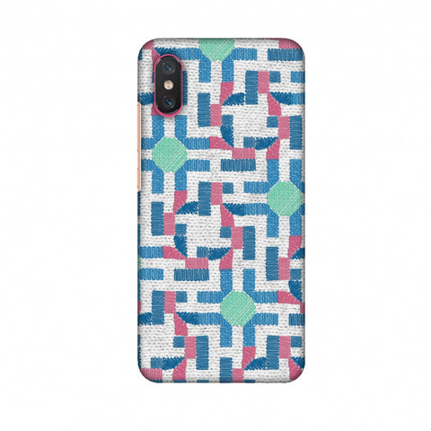Geometric Phulkari - Blue And Green Slim Hard Shell Case For Xiaomi Mi 8 Pro
