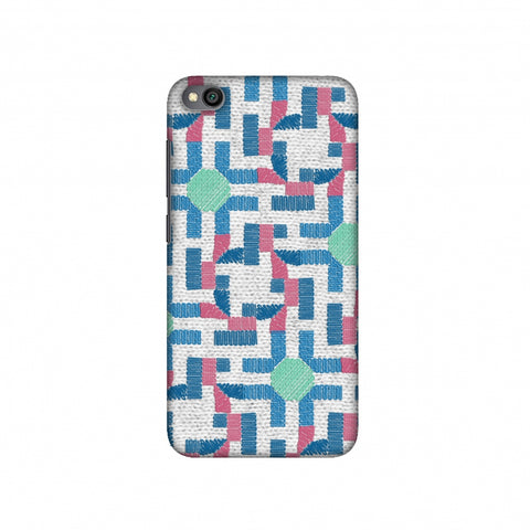 Geometric Phulkari - Blue And Green Slim Hard Shell Case For Redmi Go