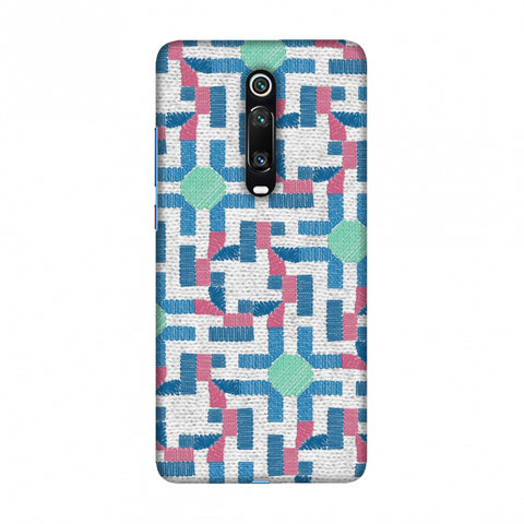 Geometric Phulkari - Blue And Green Slim Hard Shell Case For Redmi K20/K20 Pro