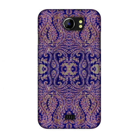 Zardozi Geometric Motifs - Midnight Blue Slim Hard Shell Case For Micromax Canvas 2 A110