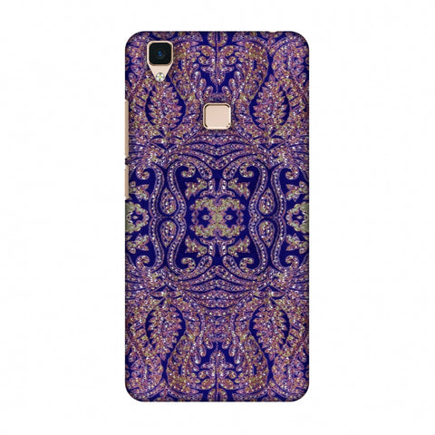 Zardozi Geometric Motifs - Midnight Blue Slim Hard Shell Case For Vivo V3