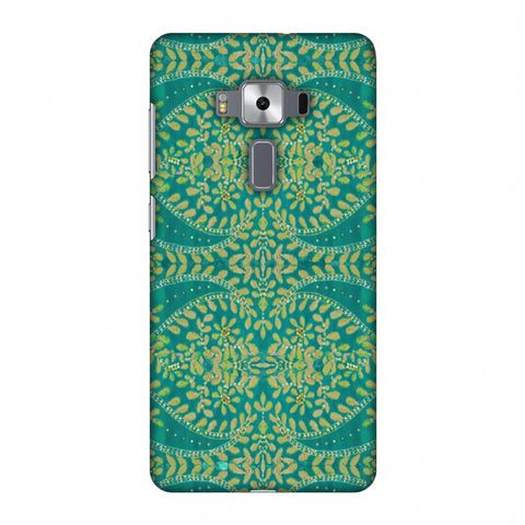 Thread And Sequins Work - Sea Green Slim Hard Shell Case For Asus Zenfone 3 Deluxe ZS570KL