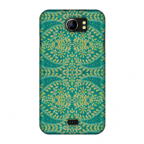 Thread And Sequins Work - Sea Green Slim Hard Shell Case For Micromax Canvas 2 A110