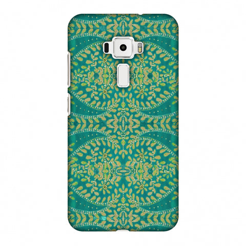 Thread And Sequins Work - Sea Green Slim Hard Shell Case For Asus Zenfone 3 ZE520KL