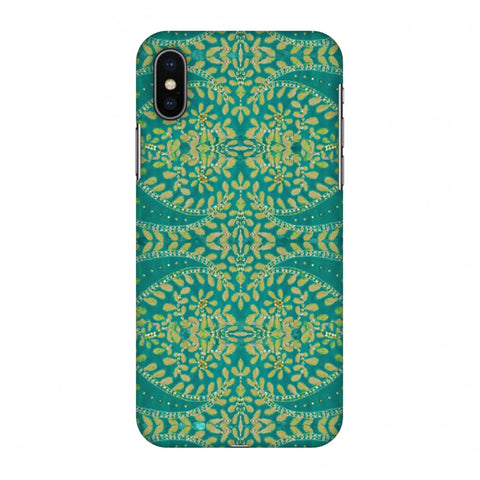 Thread And Sequins Work - Sea Green Slim Hard Shell Case For Apple iPhone X