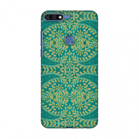 Thread And Sequins Work - Sea Green Slim Hard Shell Case For Huawei Honor 7C