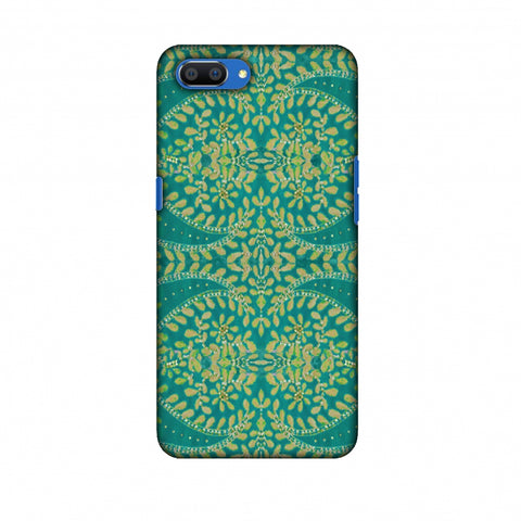 Thread And Sequins Work - Sea Green Slim Hard Shell Case For Oppo Realme C1