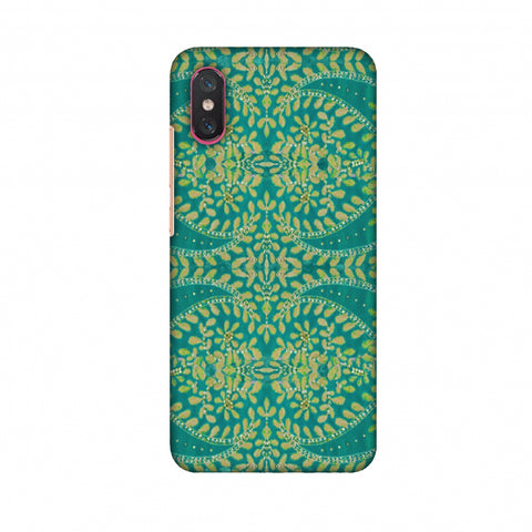 Thread And Sequins Work - Sea Green Slim Hard Shell Case For Xiaomi Mi 8 Pro