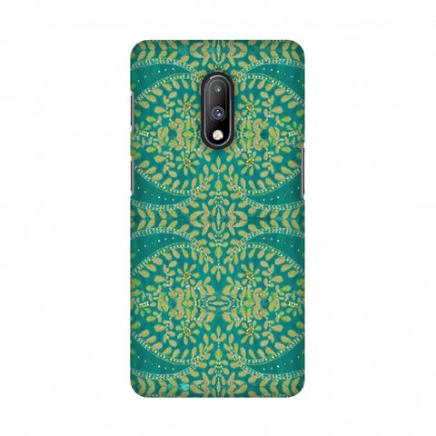 Thread And Sequins Work - Sea Green Slim Hard Shell Case For OnePlus 7