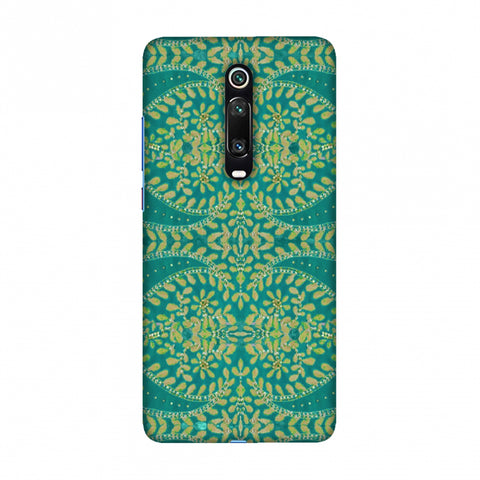 Thread And Sequins Work - Sea Green Slim Hard Shell Case For Redmi K20/K20 Pro