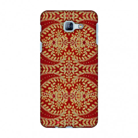 Thread And Sequins Work - Red And Gold Slim Hard Shell Case For Samsung Galaxy A8 2016