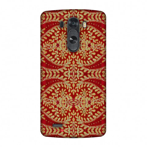 Thread And Sequins Work - Red And Gold Slim Hard Shell Case For LG G4