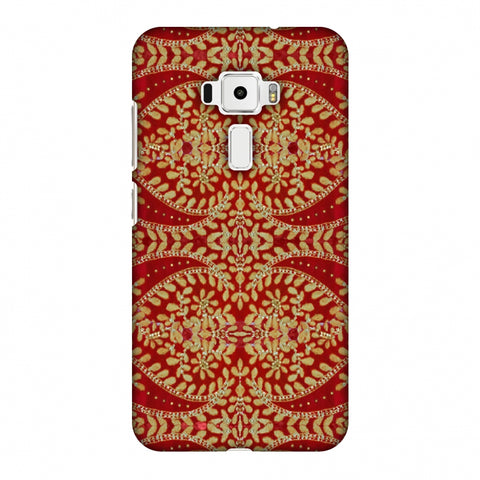 Thread And Sequins Work - Red And Gold Slim Hard Shell Case For Asus Zenfone 3 ZE520KL