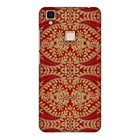 Thread And Sequins Work - Red And Gold Slim Hard Shell Case For Vivo V3 Max