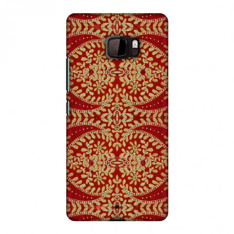Thread And Sequins Work - Red And Gold Slim Hard Shell Case For HTC U Ultra