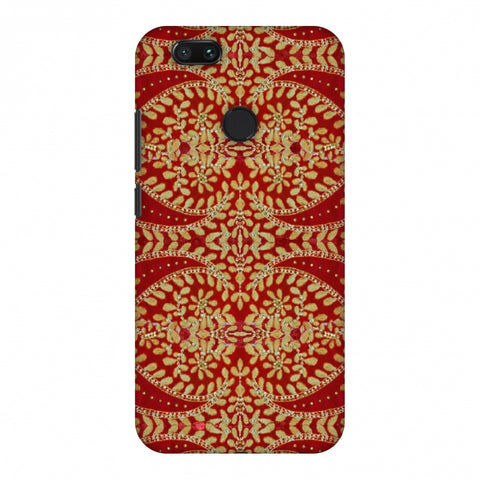 Thread And Sequins Work - Red And Gold Slim Hard Shell Case For Xiaomi MI A1-5X