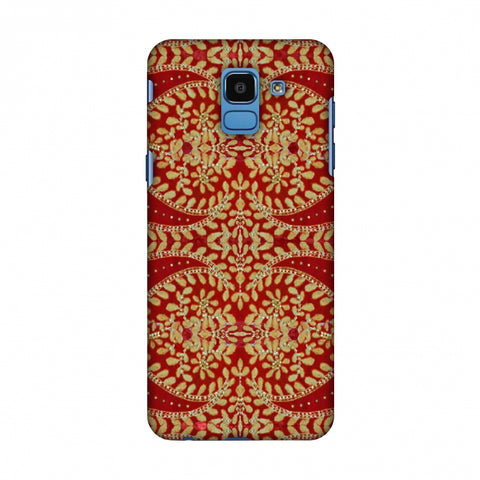 Thread And Sequins Work - Red And Gold Slim Hard Shell Case For Samsung Galaxy On 6