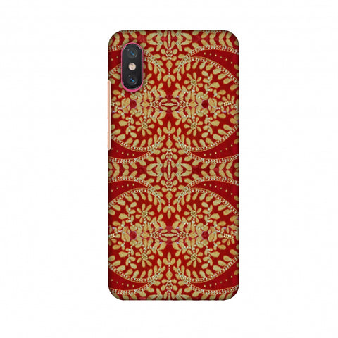 Thread And Sequins Work - Red And Gold Slim Hard Shell Case For Xiaomi Mi 8 Pro