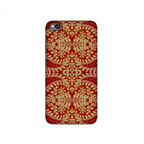 Thread And Sequins Work - Red And Gold Slim Hard Shell Case For Redmi Go