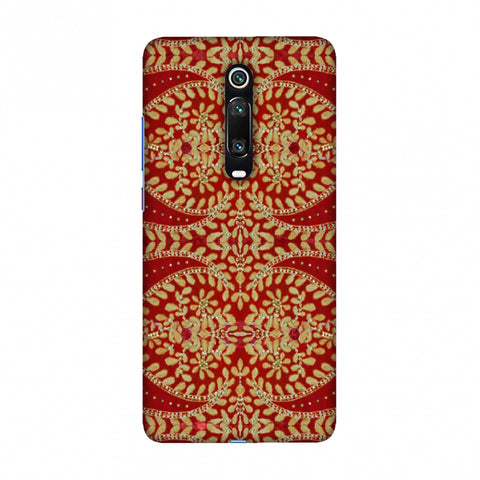 Thread And Sequins Work - Red And Gold Slim Hard Shell Case For Redmi K20/K20 Pro