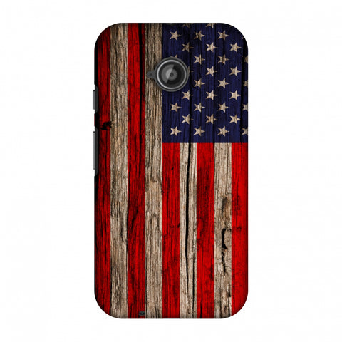 USA Flag - Wooden Texture Slim Hard Shell Case For Motorola Moto E 2nd Gen