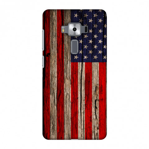USA Flag - Wooden Texture Slim Hard Shell Case For Asus Zenfone 3 Deluxe ZS570KL