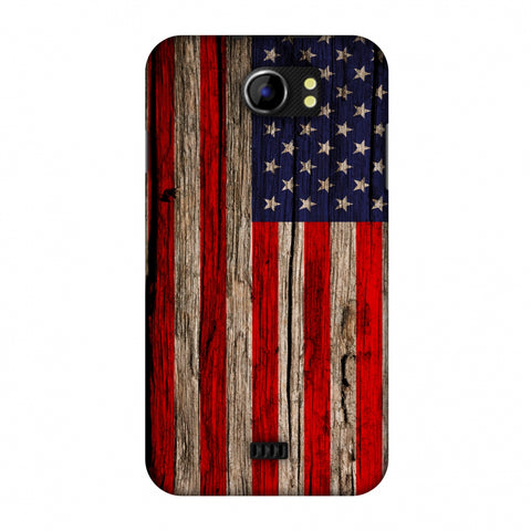 USA Flag - Wooden Texture Slim Hard Shell Case For Micromax Canvas 2 A110